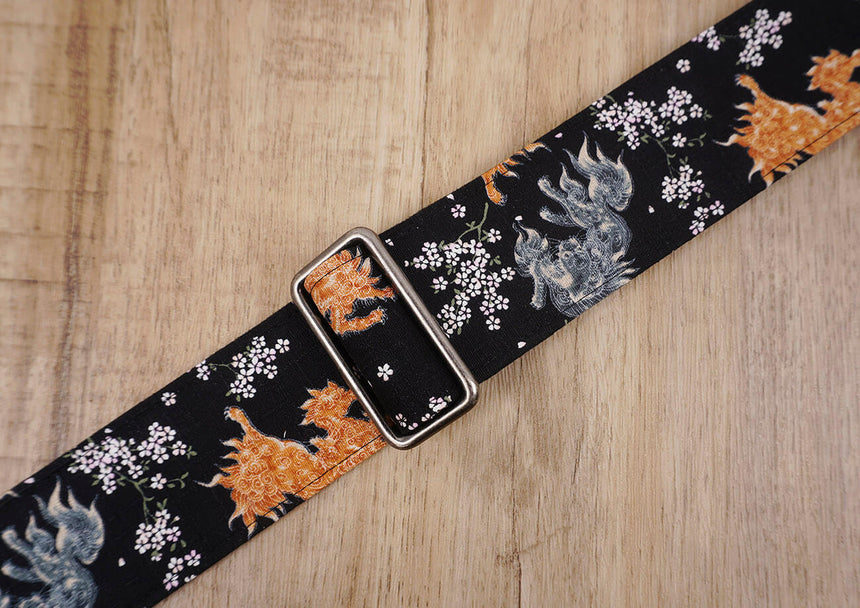 qilin and sakura guitar strap with leather ends-4