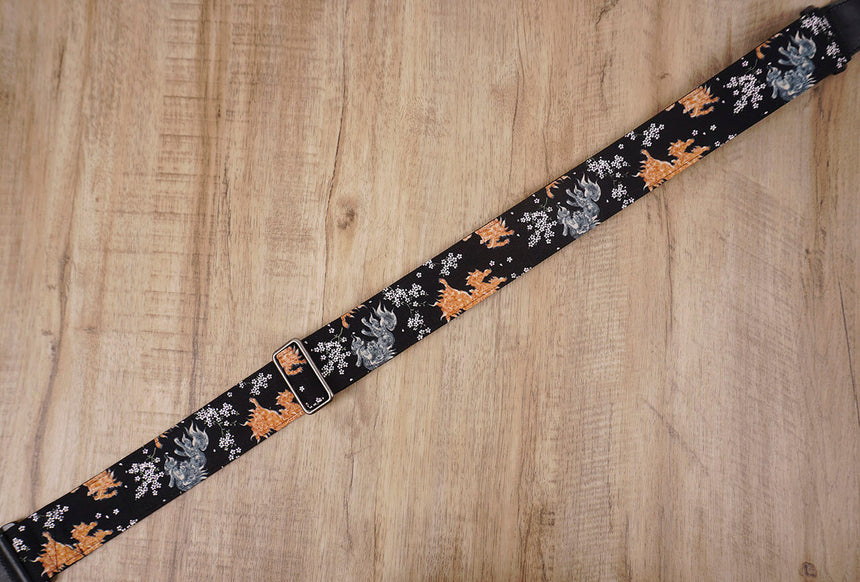 qilin and sakura guitar strap with leather ends-5