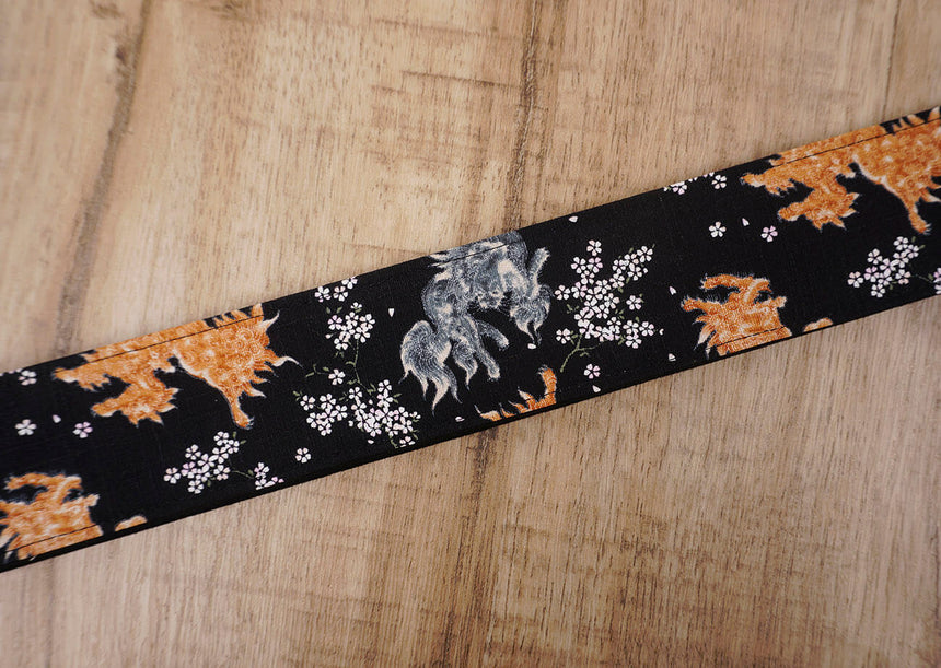 qilin and sakura guitar strap with leather ends-6