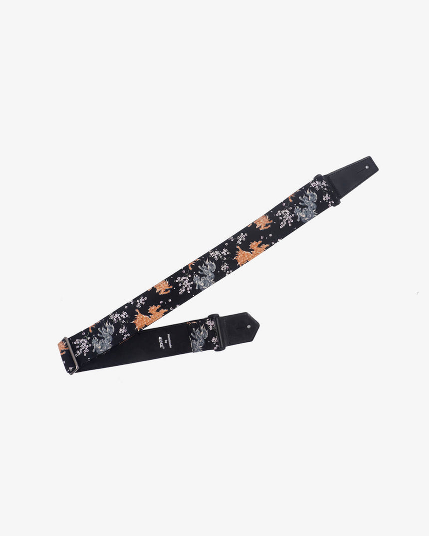 qilin and sakura guitar strap with leather ends-1