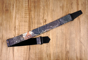 Marble reflective guitar strap with leather ends-2