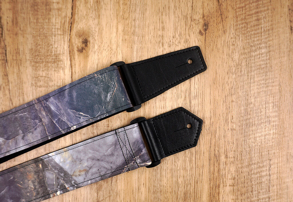 Marble reflective guitar strap with leather ends-4