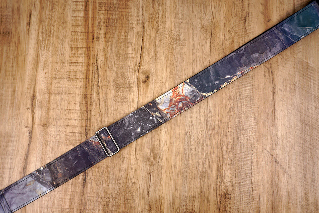 Marble reflective guitar strap with leather ends-5