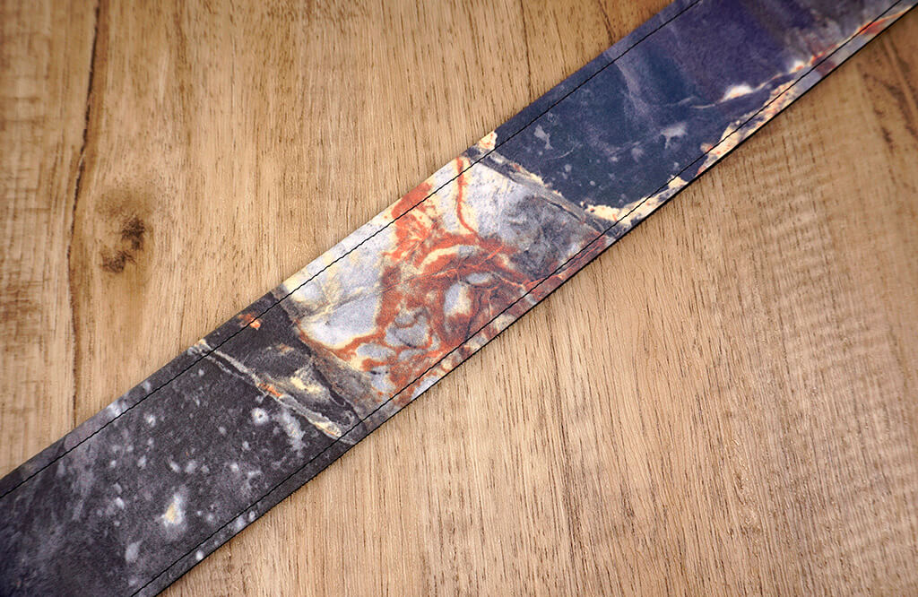 Marble reflective guitar strap with leather ends-6