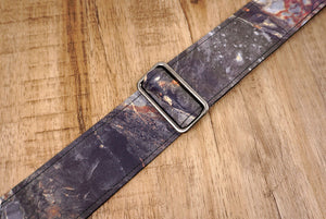 Marble reflective guitar strap with leather ends-7