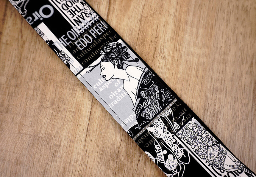 Japan beautiful girl guitar strap with leather ends-4
