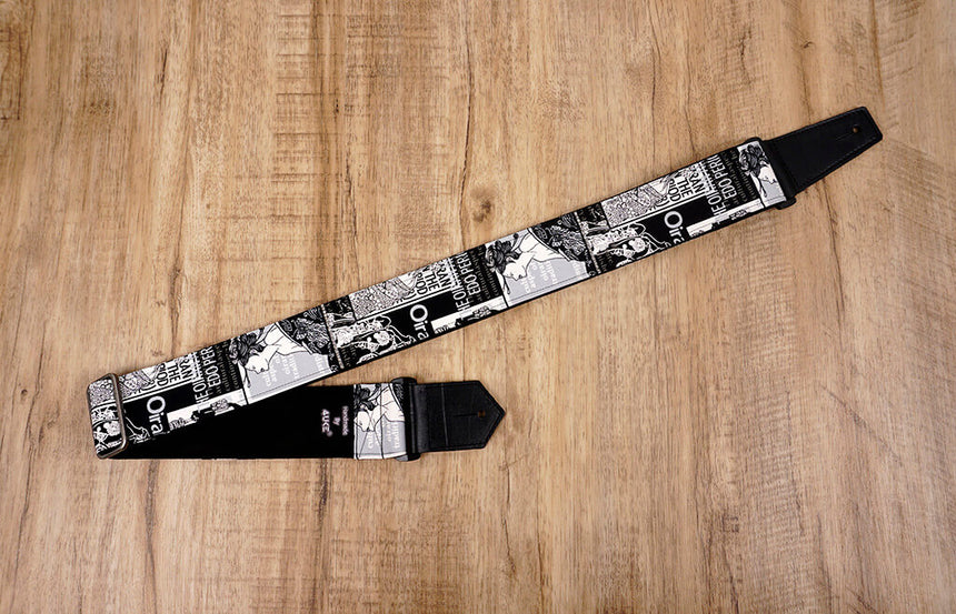 Japan beautiful girl guitar strap with leather ends-1
