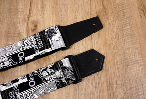 beauty vintage guitar strap with leather ends-5