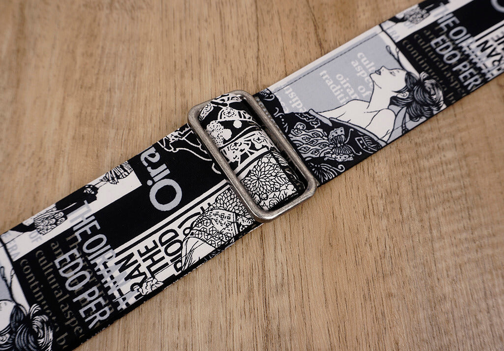 beauty vintage guitar strap with leather ends-6