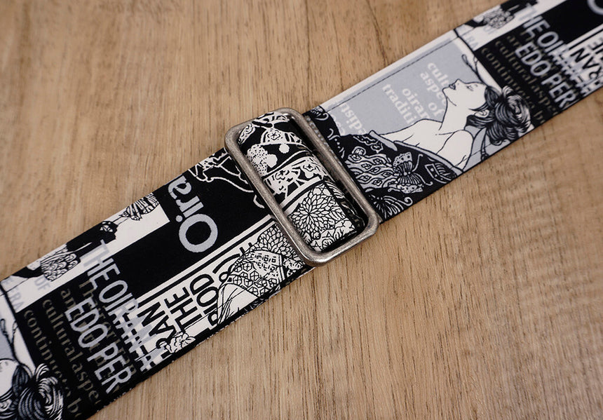 Japan beautiful girl guitar strap with leather ends-6