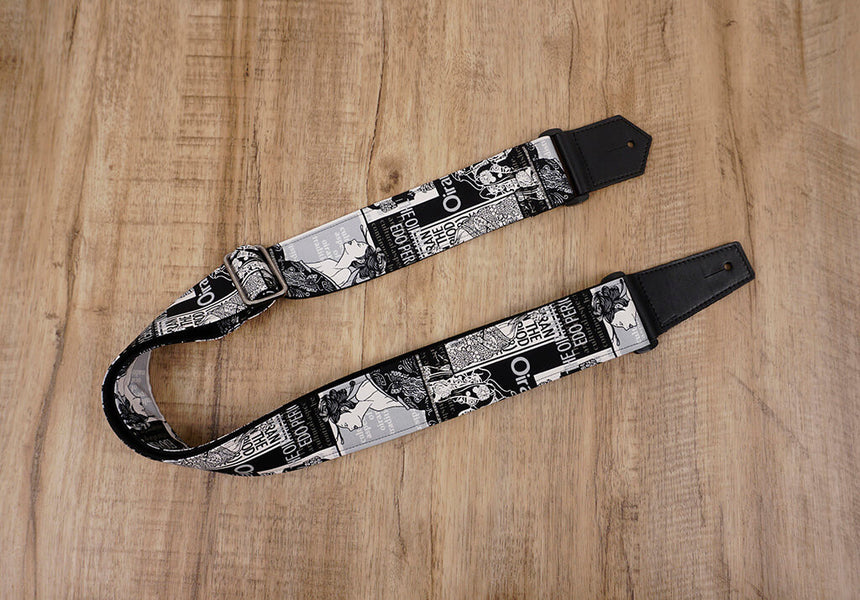 Japan beautiful girl guitar strap with leather ends-2