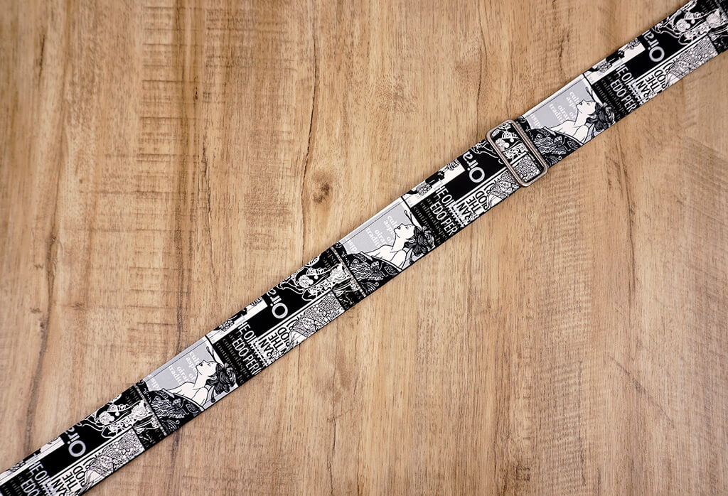 beauty vintage guitar strap with leather ends-3