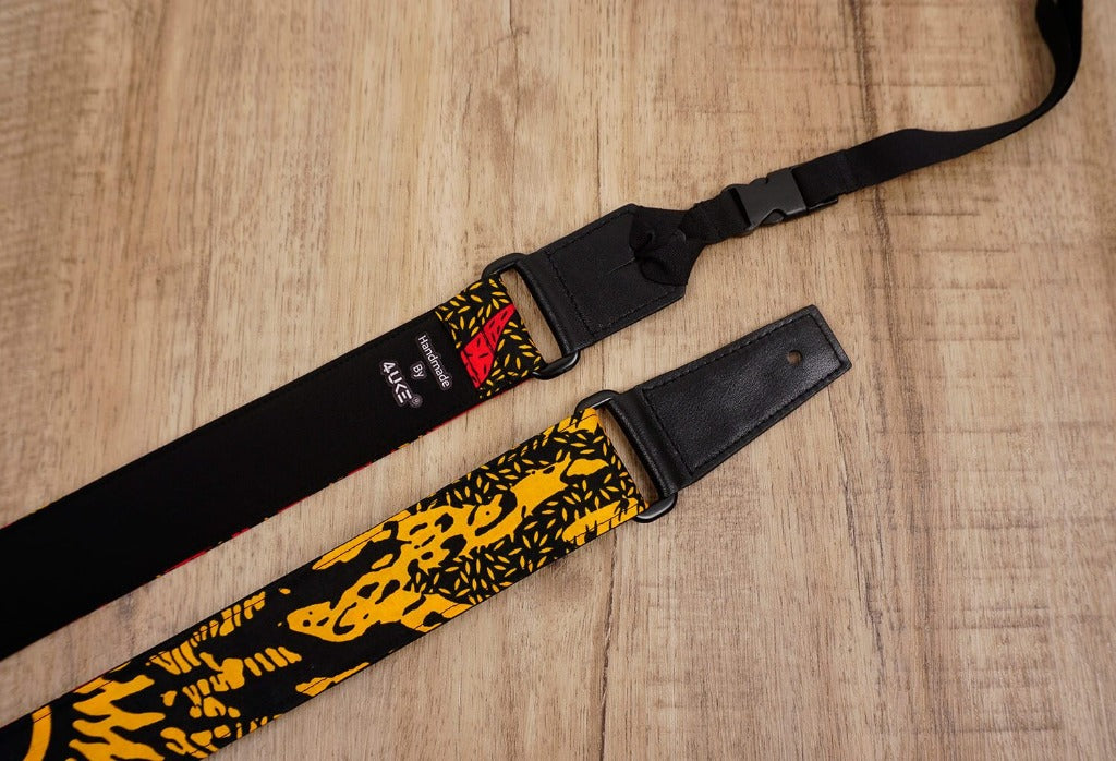 Passionate Africa ukulele shoulder strap with leather ends-5