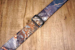 Rock texture reflective ukulele shoulder strap with leather ends-4