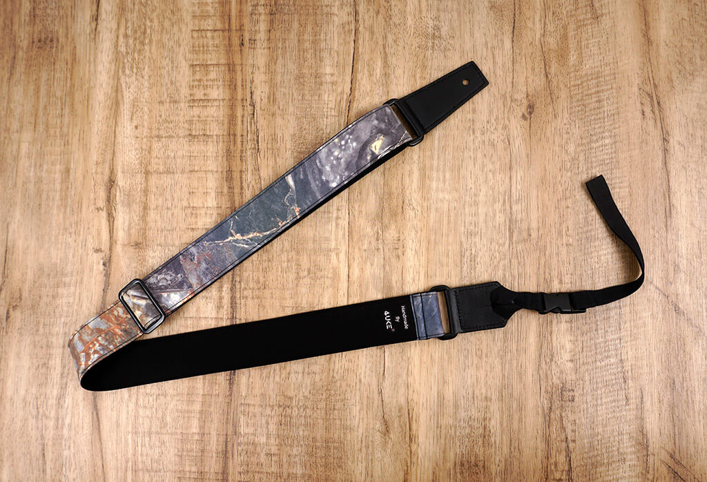 Rock texture reflective ukulele shoulder strap with leather ends-3
