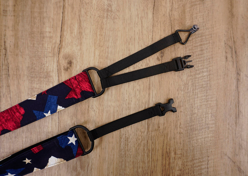 American flag clip on ukulele hook strap no drill, no button -5