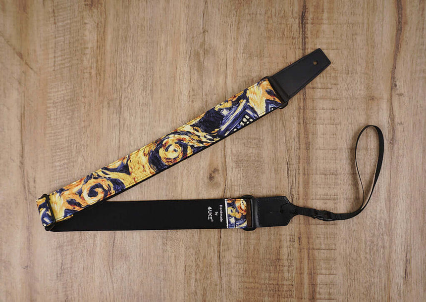 Personalized art painting ukulele shoulder strap with leather ends -3
