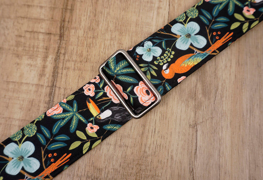 bird rose floral guitar strap with leather ends -5
