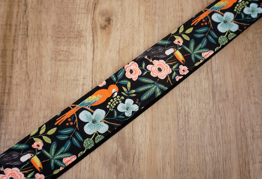 bird rose floral guitar strap with leather ends -6