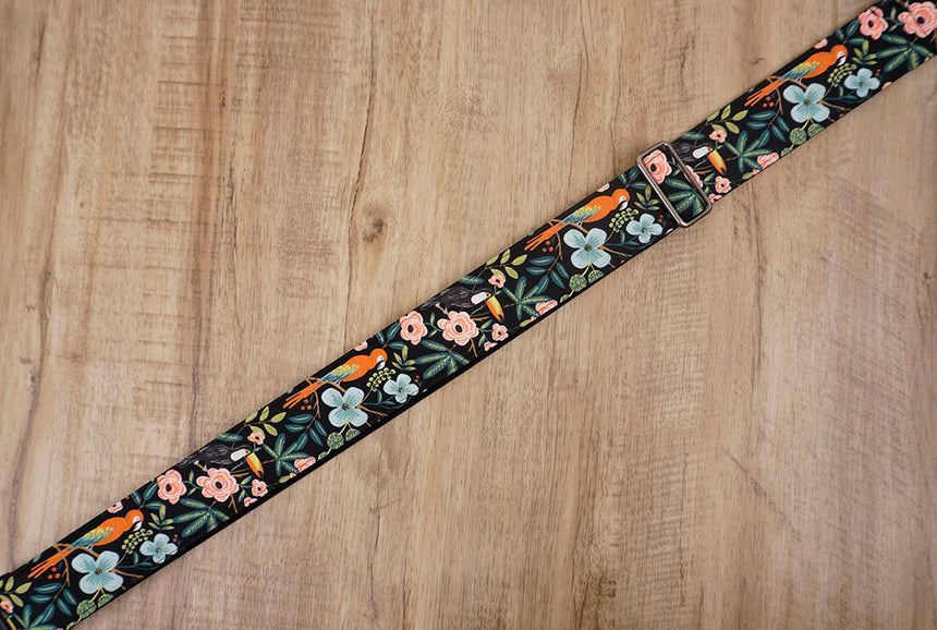 bird rose floral guitar strap with leather ends -7