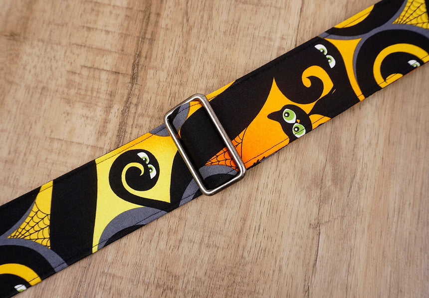 personalized black cat guitar strap with leather ends -4