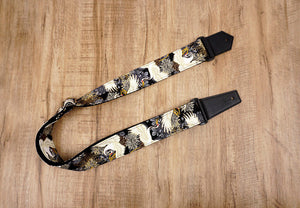 black crane and chrysanthemums printed guitar strap with leather ends-1