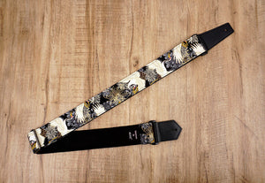 black crane and chrysanthemums printed guitar strap with leather ends-2