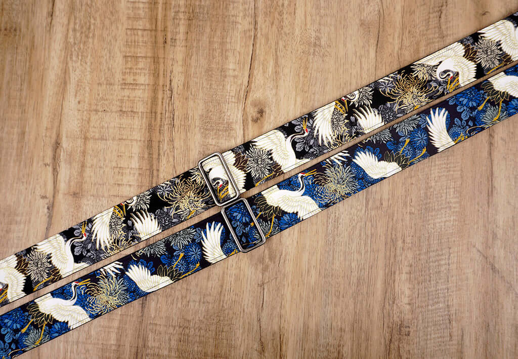 crane and chrysanthemums printed guitar strap with leather ends-2