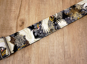 black crane and chrysanthemums printed guitar strap with leather ends-3