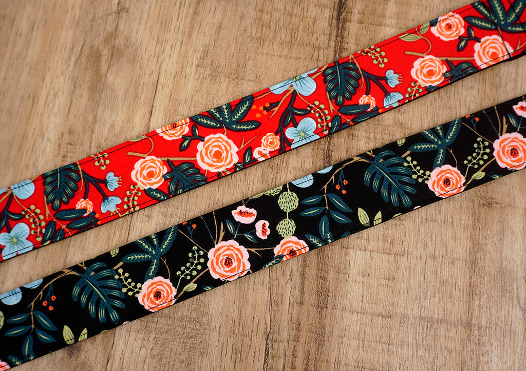rose ukulele shoulder strap with leather ends-4