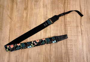 blue ukulele shoulder strap with leather ends-2