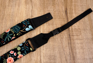 blue ukulele shoulder strap with leather ends-3