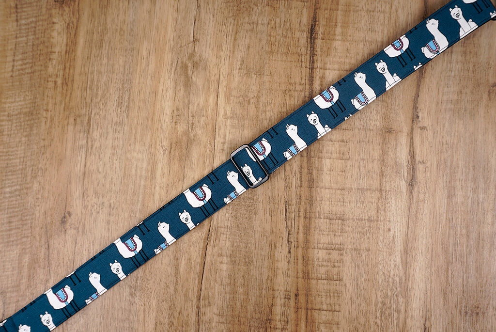 blue llama clip on ukulele hook strap, no drill, no button-3