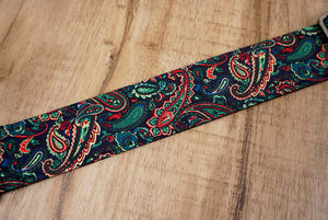 Boho paisley guitar strap with leather ends-4