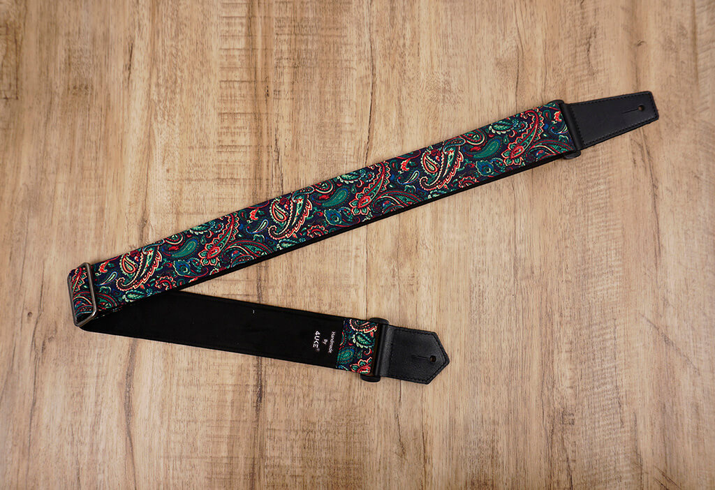Boho paisley guitar strap with leather ends-2