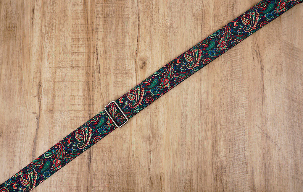 Boho paisley guitar strap with leather ends-6