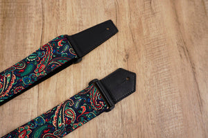 Boho paisley guitar strap with leather ends-7