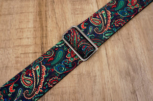 Boho paisley guitar strap with leather ends-8