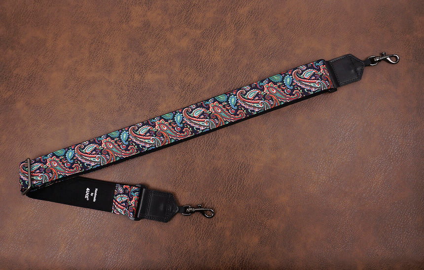 Boho paisley fabric banjo strap with hook-2