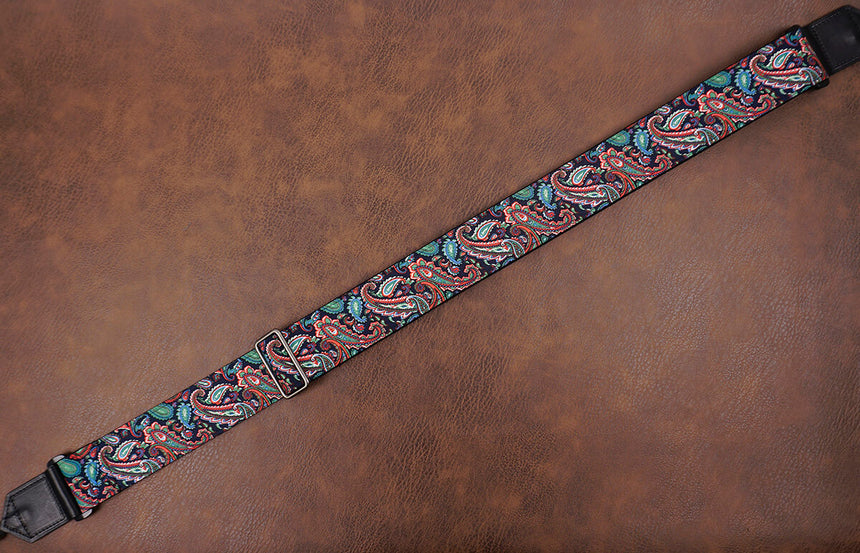 Boho paisley fabric banjo strap with hook-5