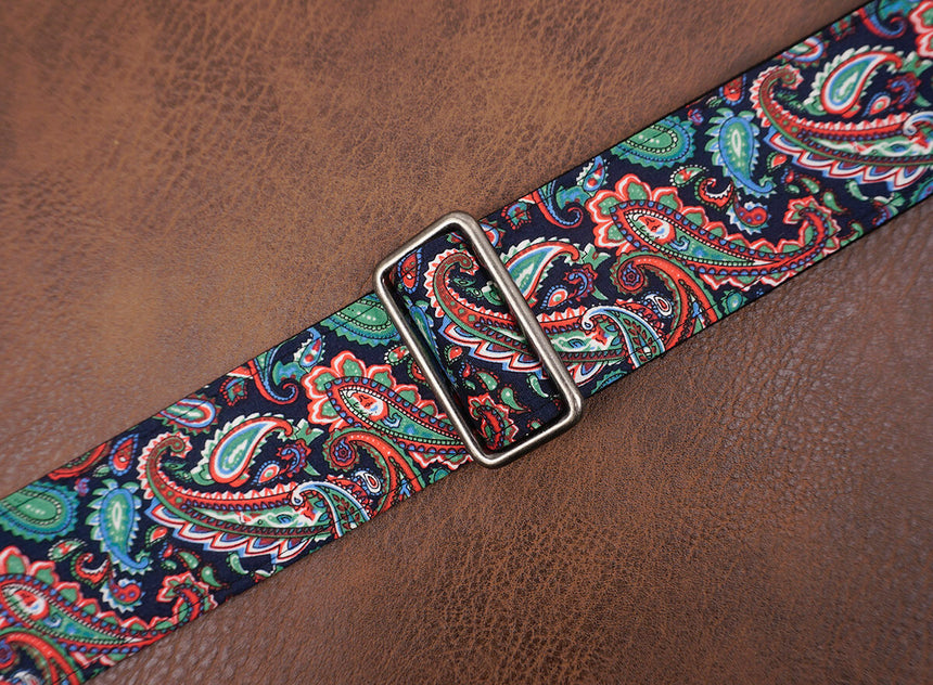 Boho paisley fabric banjo strap with hook-6