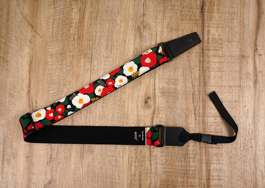 cat and flower ukulele shoulder strap with leather ends-7