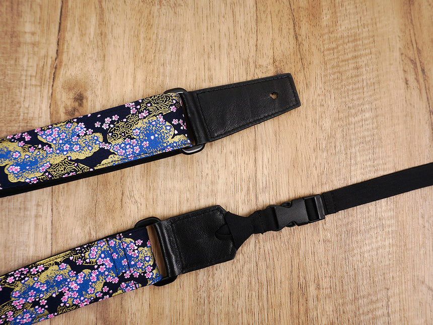 cherry blossom ukulele shoulder strap with leather ends-2