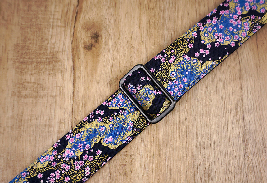 cherry blossom ukulele shoulder strap with leather ends-3