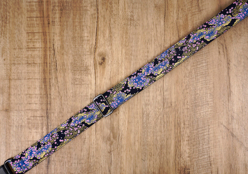 cherry blossom ukulele shoulder strap with leather ends-5