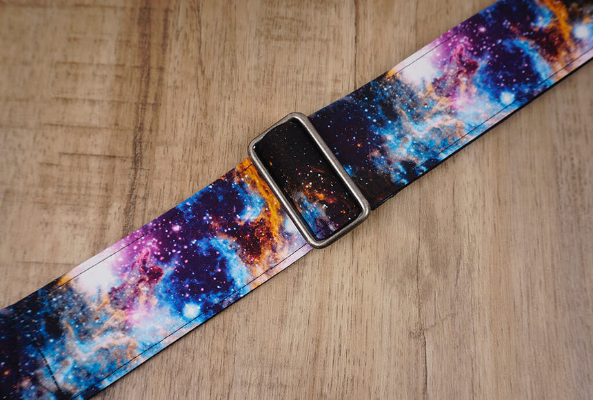 personalized fancy galaxy guitar strap with leather ends -7