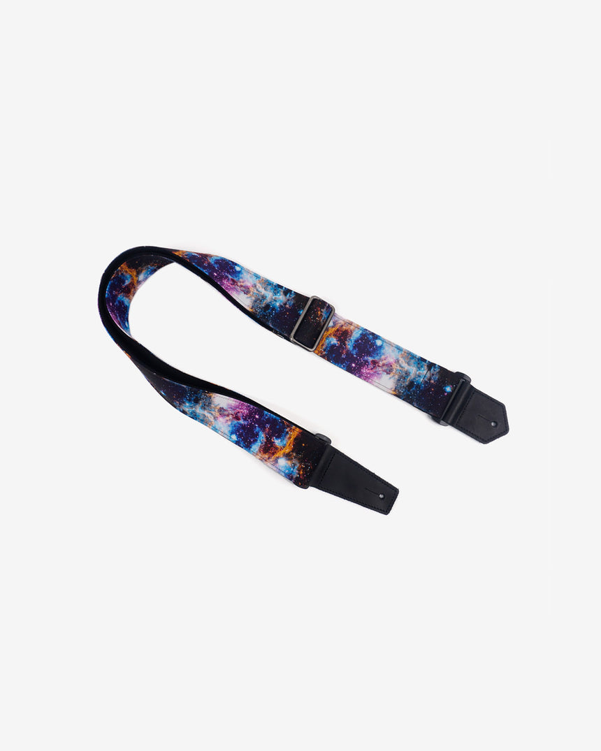 personalized fancy galaxy guitar strap with leather ends -1