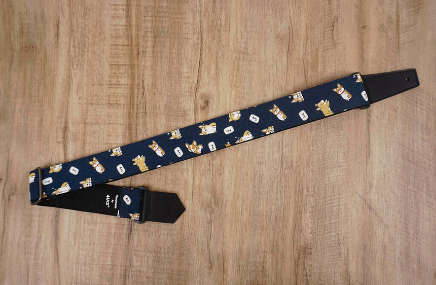 funny Corgi dog cute guitar strap with leather ends -3