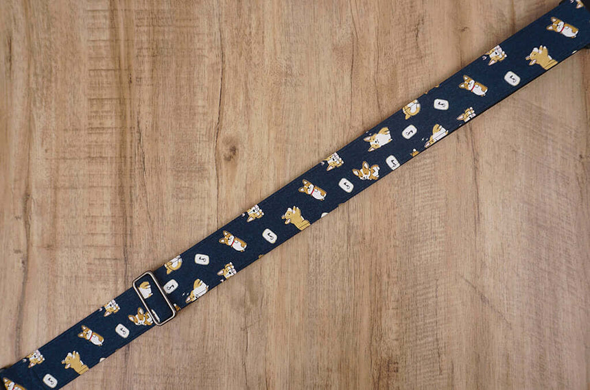 funny Corgi dog cute guitar strap with leather ends -4