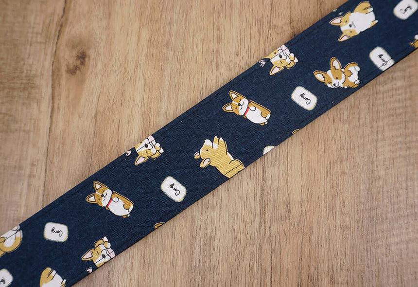 funny Corgi dog cute guitar strap with leather ends -5